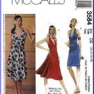 McCall's Sewing Pattern 3584 Sz 12-18 Misses' Halter Dress Flared Skirt Slim Fitted Straight Sheath