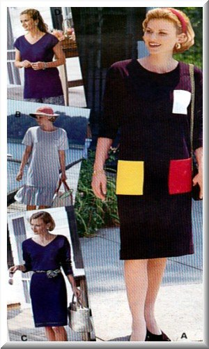Sewing Step-By-Step Pattern 012-052-179 T-Dress Sz 4-22 Misses' Easy Pullover Basic Dress Mid Length