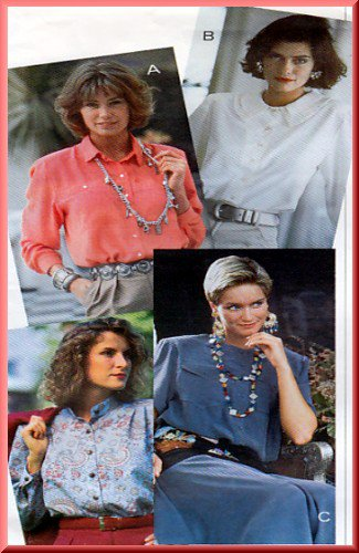 Sewing Step-By-Step Pattern 012-052-110 Blouse Sz 4-22 Misses' Loose Fitting Button Front Top Collar