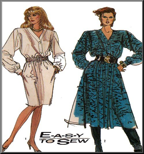 Vintage Simplicity Sewing Pattern 8863 Size 10-16 Misses' V Button Front Dress Straight Full Skirt