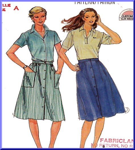 Vintage Butterick Sewing Pattern 3674 Size 8-12 Misses' 80s Dirndl Skirt Below Knee Length Buttons