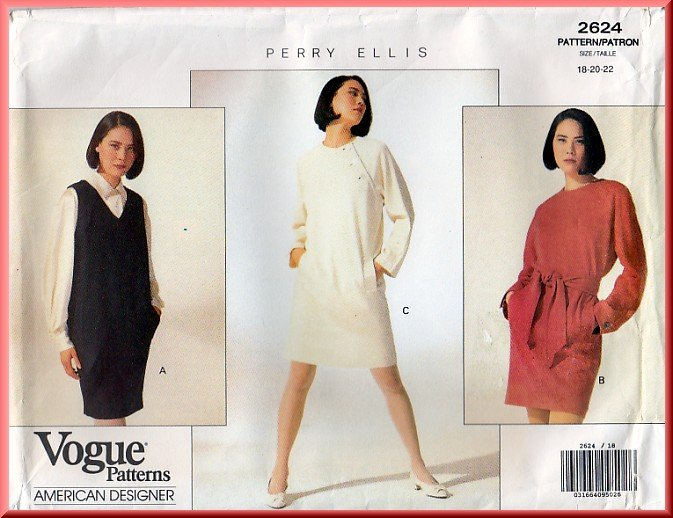 Vogue Sewing Pattern 2624 Size 18-22 Misses' Perry Ellis Dress Jumper Sash Mod Tapered Jumper Belt