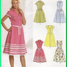 New Look Sewing Pattern 6587 Size 8-18 Misses' Retro Pretty Dress Button Front Gathered Knee Skirt