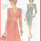 Vogue Sewing Pattern 8414 Size 6-10 Misses' Dress Pleated Wrap Bodice 90s Flared Straight Knee Skirt