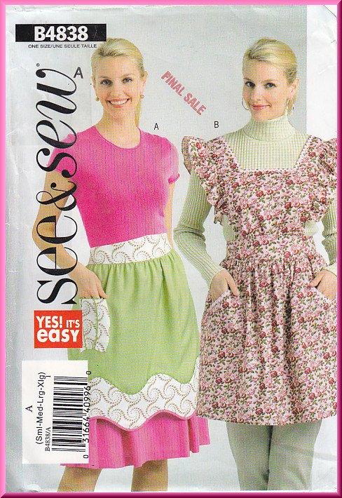 Butterick Sewing Pattern 4838 Size S-XL Misses' Retro Kitchen Apron Frilly Flounce Full Half Pockets