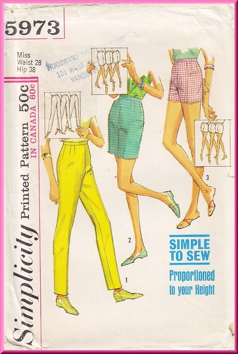 Vintage Simplicity Sewing Pattern 5973 Size 28 Waist 38 Hip Misses' Slim Pants Shorts Bermudas 60s