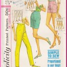 Vintage Simplicity Sewing Pattern 5973 Size 28 Waist 38 Hip Misses' Slim Pants Shorts Bermudas 60s