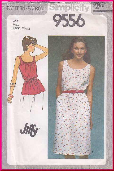 Vintage Simplicity Sewing Pattern 9556 Size 6-8 Misses' Easy Peasant Dress Top Gathered Neckline 80s