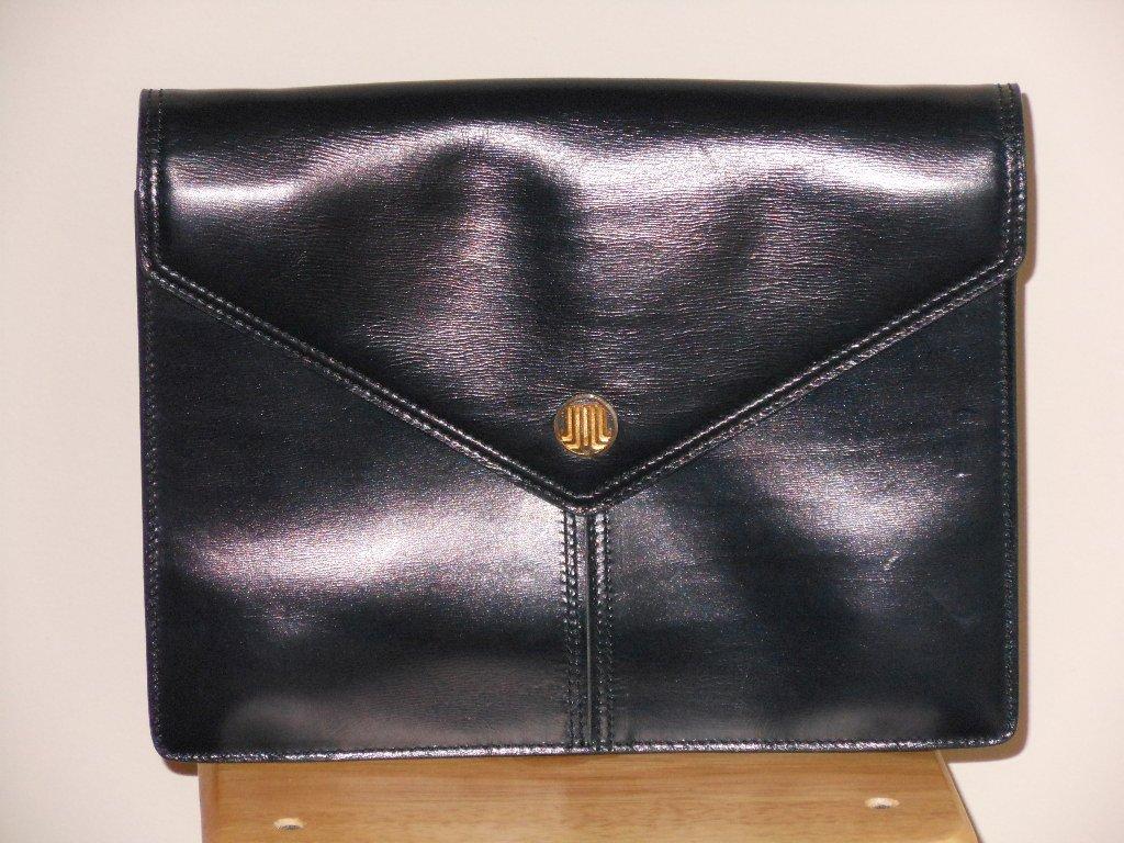 Dark Navy Blue Vintage Lanvin Leather Clutch Purse Designer Handbag Made in France Classic Ladylike
