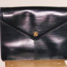 Dark Navy Blue Vintage Lanvin Leather Clutch Purse Designer Handbag Made in France Classic Ladylike
