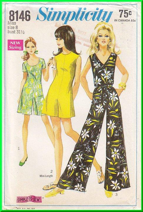 CUT Vintage Simplicity Sewing Pattern 8146 Sz 8 Misses' Retro 60s Jumpsuit Romper Jumper Long Short