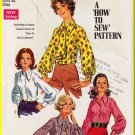 Vintage Simplicity Sewing Pattern 8299 Size 12 Misses' Blouse Ascot Tailored Button Front Shirt Cuff