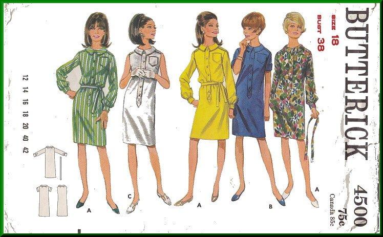 Vintage Butterick Sewing Pattern 4500 Size 18 Misses' Shirtwaist Dress Button Front Shirtdress 60s