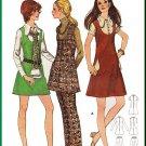 CUT Vintage Butterick Sewing Pattern 5869 Size 11 Junior Teen Mod Dress Jumper Pants Collar Pockets