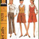 CUT Vintage McCall's Sewing Pattern 9328 Size 10 Misses' Timeless Shirt Blouse Pants Trousers Retro