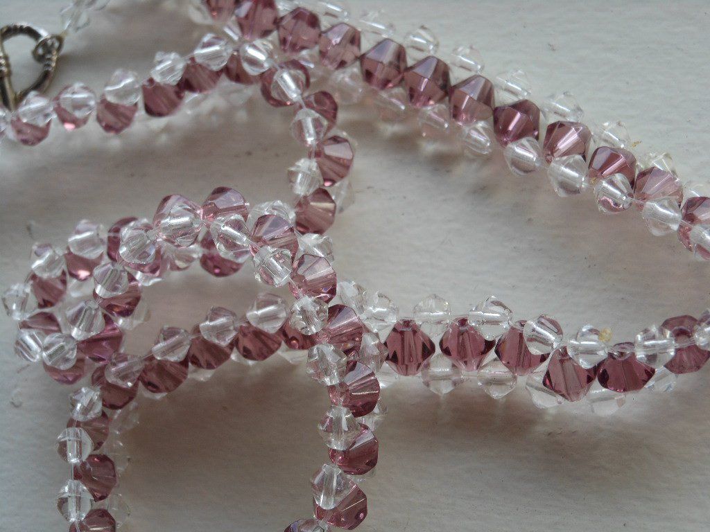 """Sparkling Clear and Amethyst Purple Faceted Glass Beads Necklace 18"""" Princess Length Hand Woven"""