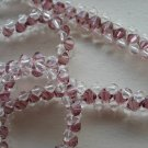 "Sparkling Clear and Amethyst Purple Faceted Glass Beads Necklace 18"" Princess Length Hand Woven"