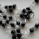"Elegant Black Clear Necklace Conical Glass Beads 23"" Matinee Length Classic Timeless Lariat Handmade"