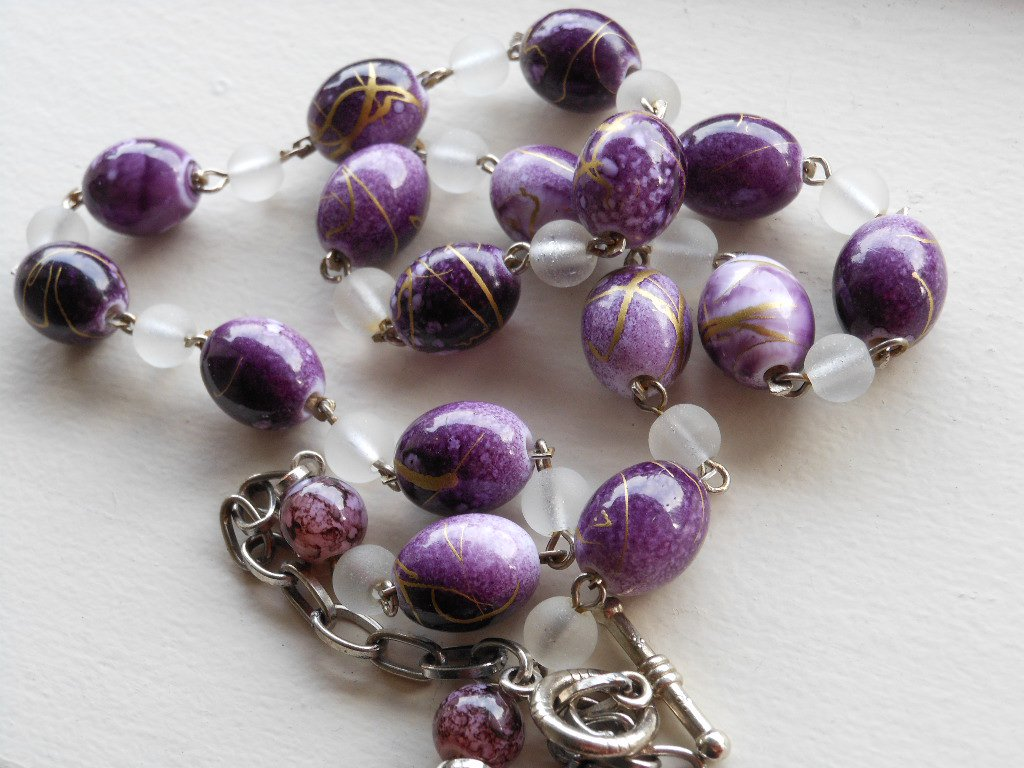 """Chic Abstract Purple Beaded Necklace Frosted Clear Beads 23.5"""" Matinee Length Trendy Funky Stylish"""