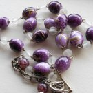 "Chic Abstract Purple Beaded Necklace Frosted Clear Beads 23.5"" Matinee Length Trendy Funky Stylish"