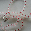 "Cute Clear Frosted Glass Necklace Red Seed Beads 26.5"" Opera Length Mod Simple Elegant Chic Handmade"
