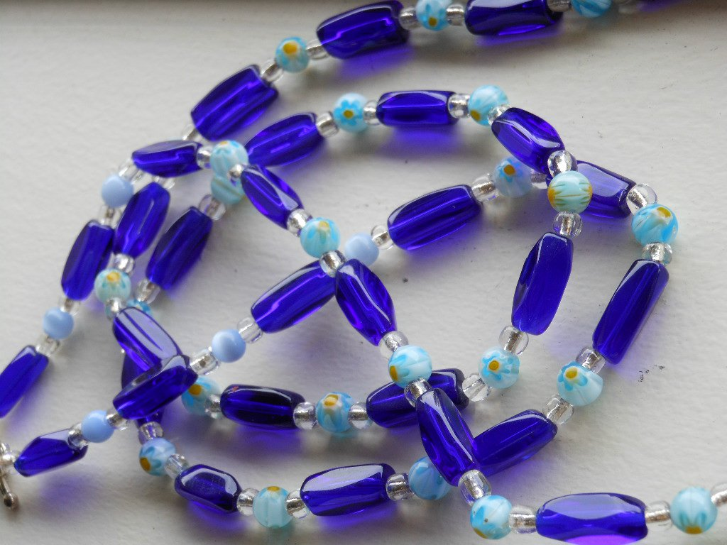 "Bold Cobalt Blue Floral Necklace Elongated Glass Beads 35"" Rope Length Handmade Charming Fun Vibrant"