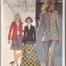 Vintage Simplicity Sewing Pattern 5212 Size 14 Misses' Blazer Collar Welt Pockets Bias Skirt Pants