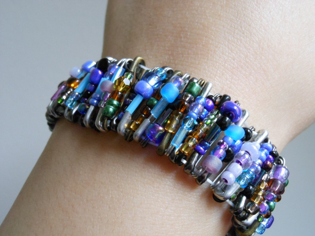 Edgy Safety Pins Stretch Cuff Mix Combo Color Stretchy Handmade Bracelet Punk Rock Glam Gothic Chic
