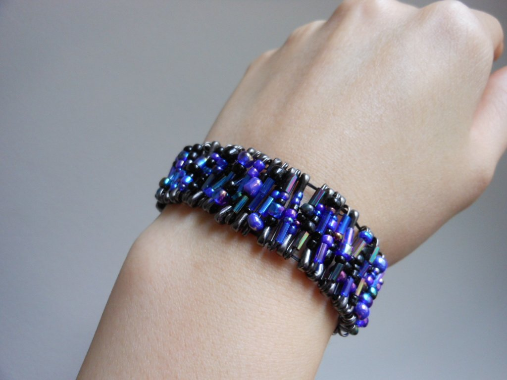 Glam Safety Pins Cuff Iridescent Purple Black Glass Beads Stretchy Handmade Bracelet Punk Rock Chic