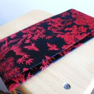 Black Red Chinese Brocade Wallet Asian Check Bill Holder Checkbook Shiny Tapestry Elegant Classic
