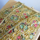 Gold Beaded Tapestry Vintage Purse DuVal Clutch Handbag Made in Hong Kong Evening Formal Fancy Chic