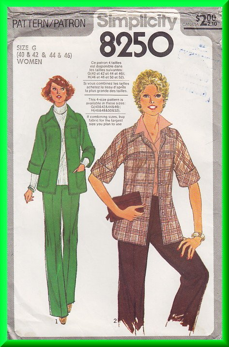Vintage Simplicity Sewing Pattern 8250 Sz 40-46 Women's Retro Jacket Pants Topstitching Collar Yoke