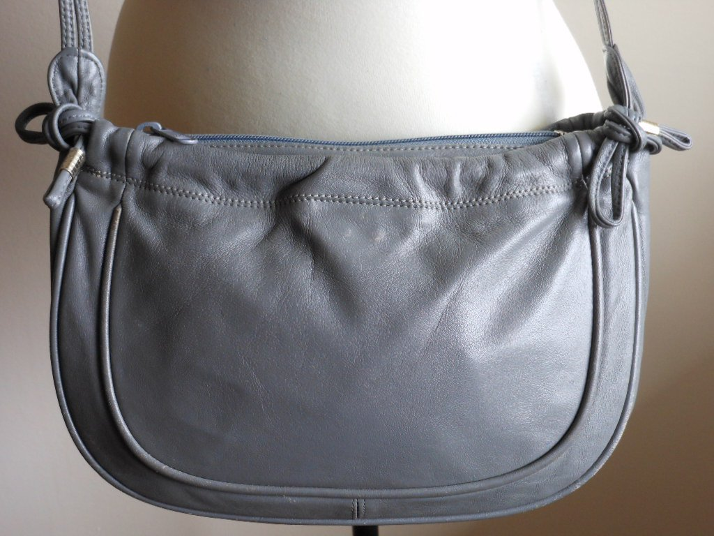 Vintage Smokey Grey Leather Shoulder Bag by Carissima Retro 80s Gather Front Ties Purse Double Strap