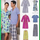 New Look 6858 Sewing Pattern Sz XS-XL Unisex Misses' Men's Sleepwear Loungewear Sleepshirt PJs Robe