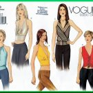 Vogue 2563 Sewing Pattern Sz 8-12 Misses' Halter Tops Fitted Sexy Glamorous Drape Front Gathers Chic