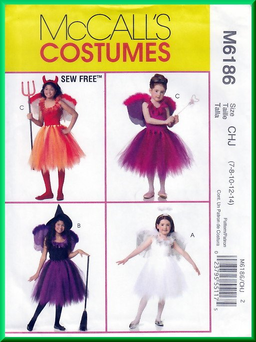McCall\'s 6186 Sewing Pattern Sz 7-14 Girls\' Costumes Fairy Angel ...