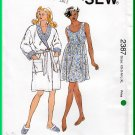 Kwik Sew 2387 Sewing Pattern Sz XS-XL Misses' Sleepwear Nightgown Robe Slippers Babydoll Sleepdress