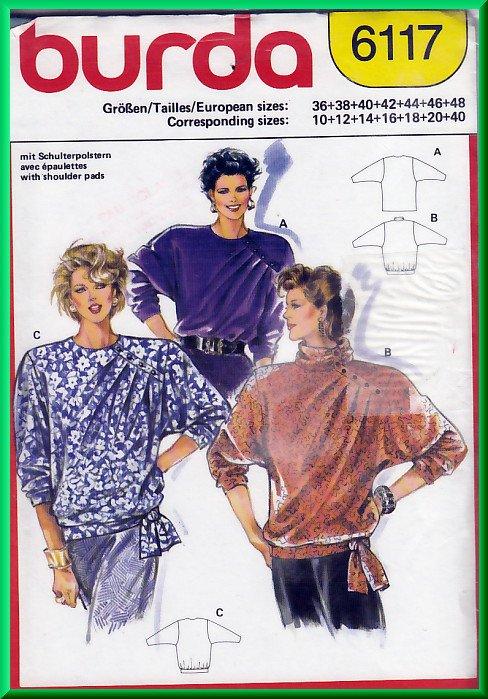 Burda 6117 Vintage Sewing Pattern Sz 10-40 Misses' Tops Retro 80s Baggy Asymmetrical Shoulder Pleats