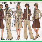 Simplicity 7603 Vintage Sewing Pattern Sz 8 Misses' Casual Outfit Retro 70s Shirt Jacket Pants Skirt