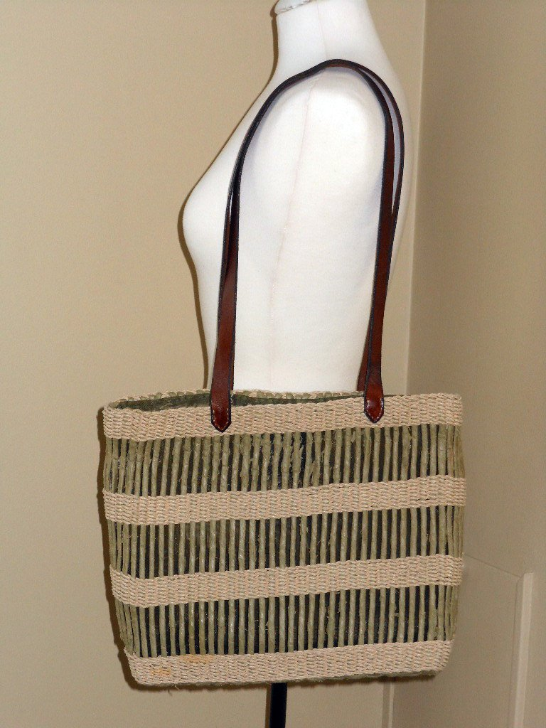 Sage Green Striped Straw Beach Tote Inge Sport Casual Shopping Bag Shoulder Purse Green Cream Stripe