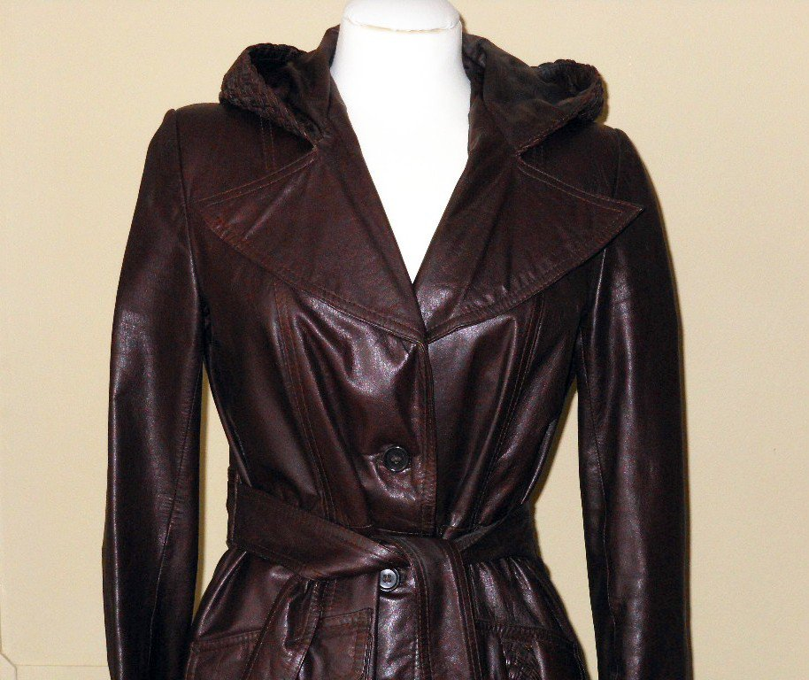 Vintage 70s Brown Leather Trench Calf Length Long Hip Spy Coat Hood Notched Collar Belt Braided Trim