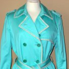 Coach Trench Coat Turquoise Blue Sz 12 Classic Mid Length Belted Double Breasted Jacket Trendy Chic