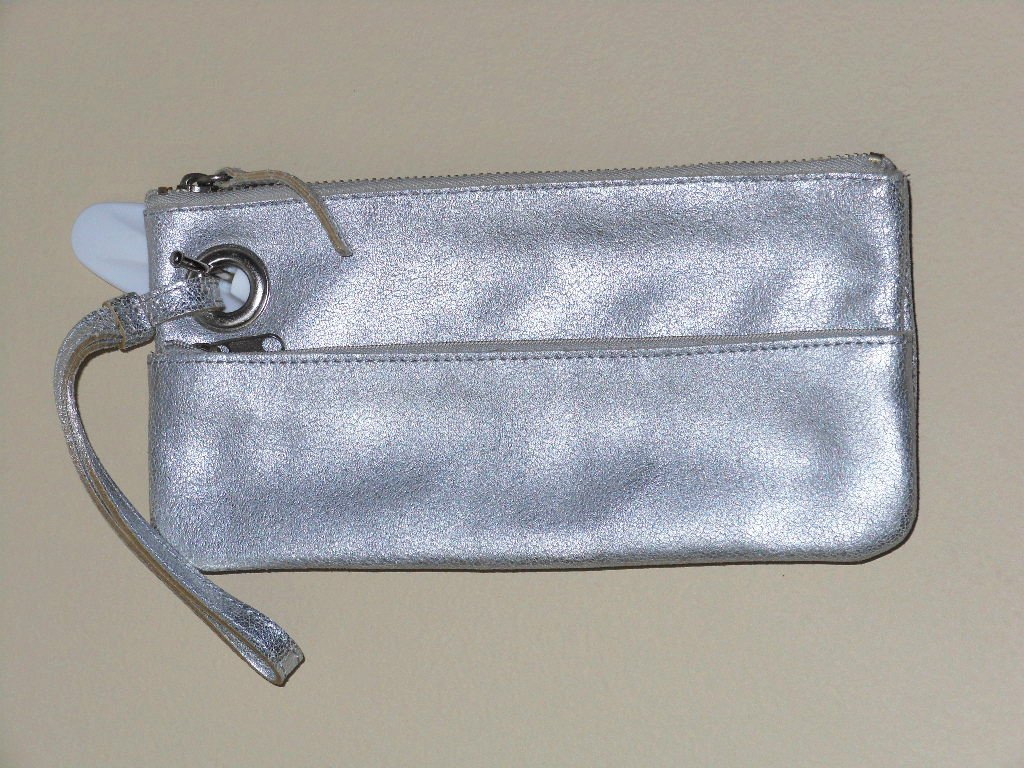 Silver Leather Old Navy Wristlet Clutch Matte Crackled Leather Mini Hand Purse Stylish Trendy Chic