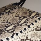 Fossil Python Print Leather Shoulder Bag Ladylike Sophisticated Structured Black Purse Elegant Chic
