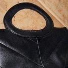 Black Leather Fossil Clutch Handbag Ladylike Elegant Feminine Purse Chevron Pattern Retro Chic Style