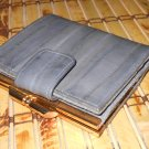 Vintage Grey Eelskin Suede Wallet Retro Feminine Chic Coin Bill Holder Card Slots 80s Ladylike Glam