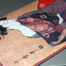 Japenese Geisha Paper Wallet Purple Red Blue Traditional Asian Motif Kimono Checkbook Holder Keeper