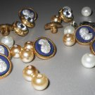 Fancy Small Buttons Faux Pearl Faux Cameo Rhinestone Lot Sew-On White Beige Navy Clear Faceted Shiny