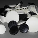 Black and White Plastic Shank Buttons Large Small Stripes Matte for Jackets Suits Blouses Sewing
