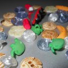 Children's Motif Small Buttons Roller Blades Fish Pencils Bananas Elephants Roses Daisies Flat Shank